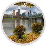 Under The Maple Tree In Portland Oregon During Fall Round Beach Towel