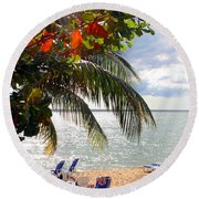 Under The Palms In Puerto Rico Round Beach Towel