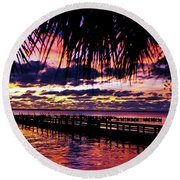 Under The Palms Sunrise Round Beach Towel