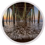 Under The Pier At Old Orchard Beach Round Beach Towel