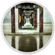 Under The Pier Round Beach Towel