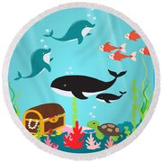 Under The Sea-jp2988 Round Beach Towel
