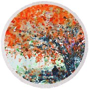 Under The Shade Of The Flamboyant Round Beach Towel