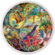 Under The Shadow Of Date Tree Round Beach Towel