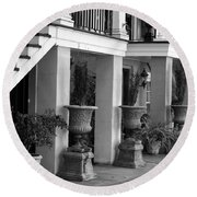 Under The Steps In Savannah - Black And White Round Beach Towel