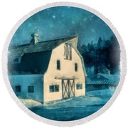 Under The Vermont Moonlight Watercolor Round Beach Towel