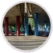 Under The Viaduct A Panoramic Urban View Round Beach Towel