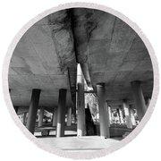 Under The Viaduct A Urban View Round Beach Towel