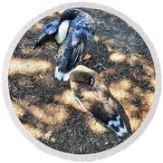 Under The Wings Round Beach Towel