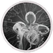 Underneath The Moon Jellyfish Round Beach Towel