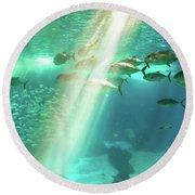 Underwater Background With Sunbeams Round Beach Towel