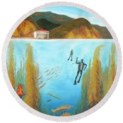 Underwater Catalina Round Beach Towel
