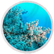 Underwater Cherry Blossom Round Beach Towel