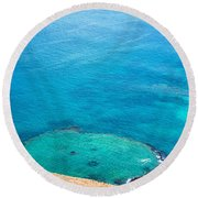 Underwater Crater In Galapagos Round Beach Towel