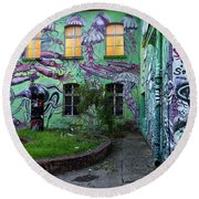 Underwater Graffiti On Studio At Metelkova City Autonomous Cultu Round Beach Towel