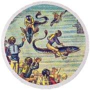 Underwater Race, 1900s French Postcard Round Beach Towel