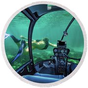 Underwater Submarine Woman Round Beach Towel