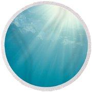 Underwater Sunrays Round Beach Towel