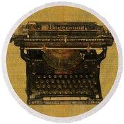Underwood Typewriter On Text Round Beach Towel