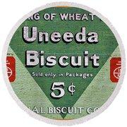 Uneeda Biscuit Vintage Sign Round Beach Towel