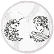 Unicorn And Fairy Cameo Set Round Beach Towel