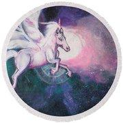 Unicorn And The Universe Round Beach Towel