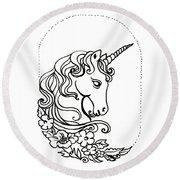 Unicorn Cameo Round Beach Towel