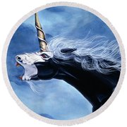 Unicorn Fury Round Beach Towel