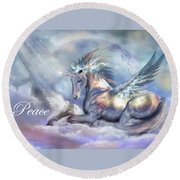 Unicorn Of Peace Card Round Beach Towel