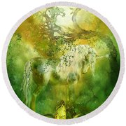 Unicorn Of The Forest  Round Beach Towel