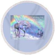 Unicorn Of The Rainbow Card Round Beach Towel