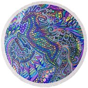 Unicorn Rainbow  Round Beach Towel
