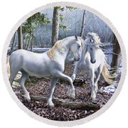 Unicorn Reunion Round Beach Towel
