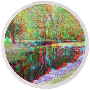 Unicorn Stream - Use Red-cyan 3d Glasses Round Beach Towel