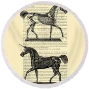 Unicorns Anatomy Round Beach Towel