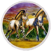 Unicorns In Sunset Round Beach Towel