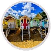 Union Jack Beach Hut 2 Round Beach Towel