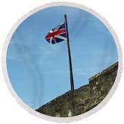 Union Jack Over The Castillo Round Beach Towel