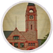 Union Pacific Railroad Depot Cheyenne Wyoming 01 Textured Round Beach Towel