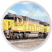 Union Pacific Up - Railimages@aol.com Round Beach Towel