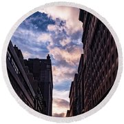 Dusk Over A Union Square Coffee Round Beach Towel