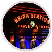 Union Station Lights Round Beach Towel