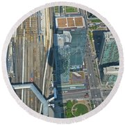 Union Station Train Yard Toronto From The Cn Tower Round Beach Towel