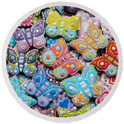 Unique Colorful Honey Cookies , Butterfly Shaped  Round Beach Towel