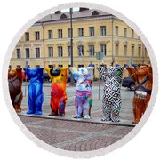 United Buddy Bear Statues At Helsinkis Senate Square Round Beach Towel