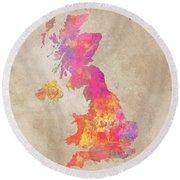 United Kingdom Map Round Beach Towel