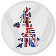 United Kingdom Typographic Kingdom Round Beach Towel