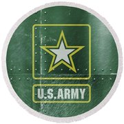 United States Army Logo On Green Steel Tank Round Beach Towel