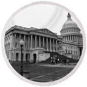 United States Capitol Building 2 Bw Round Beach Towel