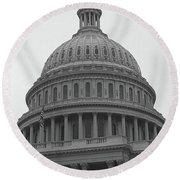 United States Capitol Building 3 Bw Round Beach Towel
